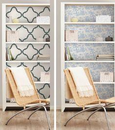 DIY Wallpaper Shelving Unit --- Full tutorial online at Joann.com