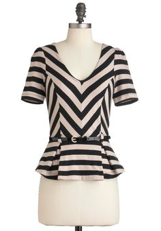 Bonbon Vivant Top - Short, Tan / Cream, Stripes, Short Sleeves, Belted, Peplum, Black, Pleats, Work