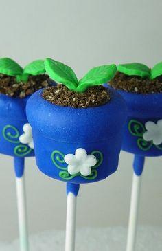 Potted Plant Cake Pop Potted Plants, Blue Flowers, Garden Cakes, Cake Pops, Garden Parties, Flower Pots, Cakepop, Terracotta Pots, Party Cakes
