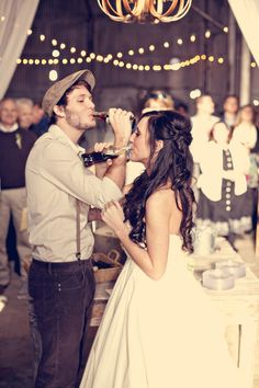 Instead of champagne toast, coke in old fashioned bottles, or a classic drink you two love. Adorable