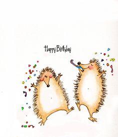 Cute Hedgehogs Happy birthday greeting card by CartoonGirl on Etsy