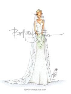 Custom bridal illustration [ www.brittanyfuson.com ]