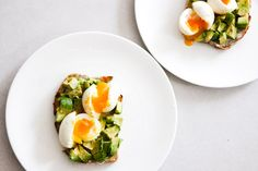 Weekend breakfast idea: perfect soft-cooked eggs on avocado toast.