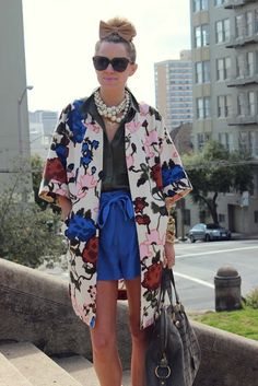 #fashion #womanswear #blogger #Atlantic-Pacific #style #outfit #floral #jacket #shorts #saint lauren #muse #bag #pearls #necklace #wedge #nude #shoes