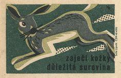rabbit, vintage matchbox illustration