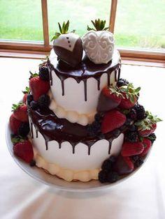 Chocolate Covered Strawberries Wedding Cake!