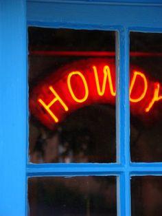 Howdy-Aqua and Red Orange Western Neon Sign Turquoise Texas Santa Fe