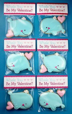 Adorable Whale Cookie Valentines (and free printable tags) - by Bakerella valentine cookies, valentine day, food, cooki valentin, valentin cooki, iced whale cookies, cookie cutters, decor cooki, whales