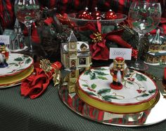 traditional red and green christmas table scape