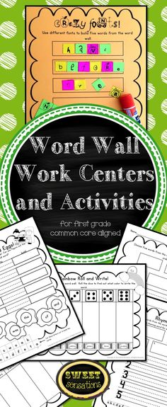 Here are 12 word wall work activity sheets to make your literacy center planning that much easier! Each sheet is designed to be independently used by students during literacy centers/phonics time. They can also be used in a whole group teaching lesson or in groups. These activities are also suited to small group intervention teaching. Initially the teacher will need to teach how to use the various activity sheets. If taught thoroughly at the beginning of the school year, you will be able to rota