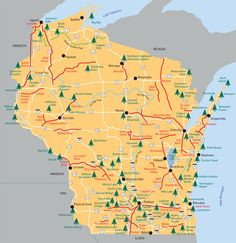 Wisconsin State Parks map.