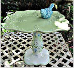 Floral Garden Totem / Dessert Pedestal / by GardenWhimsiesByMary