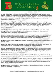Holiday Cookie Baking Tips Printable at TidyMom.net