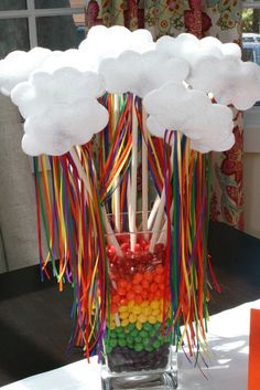 Candy decoration at a Rainbow Party.  See more at CatchMyParty.com.  #rainbow #partyideas