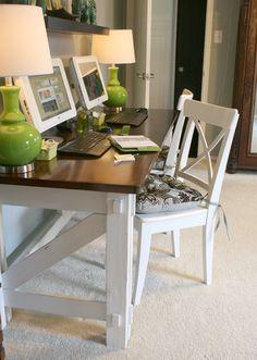 Build this 2 person computer remodelaholic.com desk #computer_desk #furniture_plans #DIY