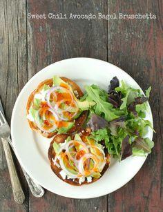 Sweet Chili Avocado Bagel Bruschetta - BoulderLocavore.com {#glutenfree if GF bagels are used}