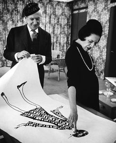 "Two #iconic figures from the world of #fashion. Diana Vreeland looks at a drawing with Cecil Beaton in 1965. From Rizzoli's ""Diana Vreeland Memos: The Vogue Years"""