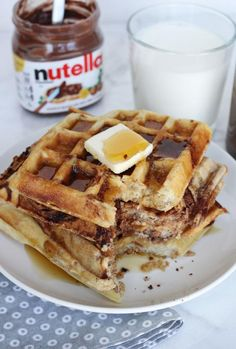 Nutella Swirl Waffles Recipe