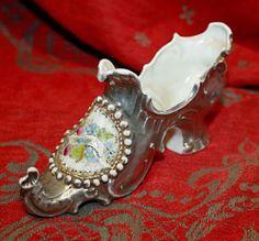 Fancy Antique Ceramic Porcelain Silver Lustre Shoe