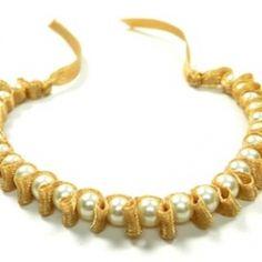 Make a beautiful beaded pearl bracelet using ribbon!!!!!!!!!!!!!!!!!!!!!!!!!!!!!