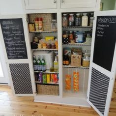 Pantry Organization -like the chalkboards on the inside of the closet doors