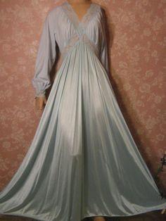 Vintage long sleeve Cozy Top brushed nylon, silky secret hug Olga nightgown @vintagepretties. rubylane
