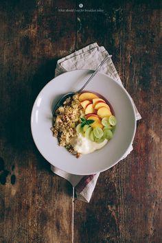 millet with coconut milk + soy yogurt + fruits