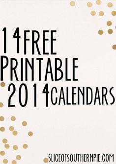 Free printable 2014 calendar ideas!
