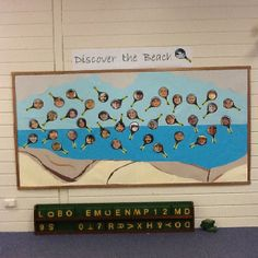 Changing to a beach theme for science and nature discovery in my preschool classroom, I came up with the idea to show the preschoolers as scientists looking through their magnifying glasses. I love the depiction of the local cliffs in this board.