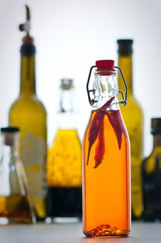Chili infused olive oil: delicious to use when making bruschetta topping