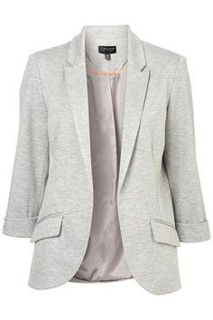 ponte rolled sleeve blazer ++ topshop