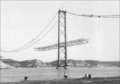 Construção da Ponte Salazar, Lisboa, Portugal (Ponte 25 de Abril)