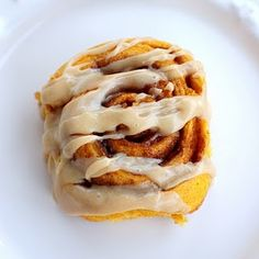 Pumpkin cinnamon roll with caramel frosting- I love anything pumpkin flavored and this would be delicious with a pumpkin spice latte when on a cool fall day!