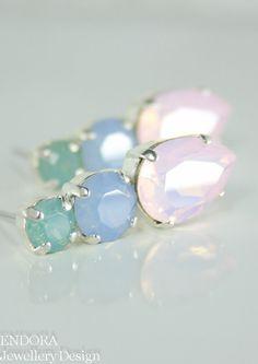 Pastel Swarovski crystal earrings Pastel crystal jewelry by #EndoraJewellery | Pastel wedding jewelry