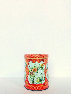 Vintage Daher Tin Canister  Floral by OneDecember on Etsy, 9.00