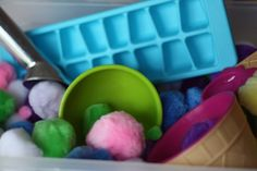 ice cubes, ice cream learning, cream station, ice cube trays, toddler