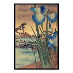 Cool Tattoo Oriental and Fine Arts on Zazzle: Japanese vintage ukiyo-e blue iris and bird scene unique gifts from Zazzle