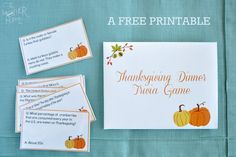 A free printable trivia game perfect for adding a little fun to your Thanksgiving Dinner.