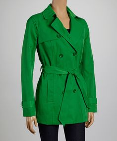 Vibrant Green Trench Coat.