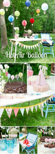 Vintage Hot Air Balloon Birthday Party. Such an amazing party! Love the hot air balloons, the bunting, and the hot air balloon cake pops.