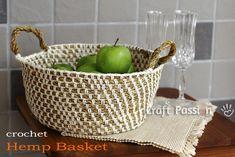 crochet hemp basket FREE pattern