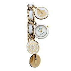 Anne Klein Women's 109384CHRM Gold-Tone White Enamel Accented Nautical Bracelet Watch-- 24% DISCOUNT & FREE SUPER SAVER SHIPPING for a limited time!--->  http://amzn.to/143LmNG