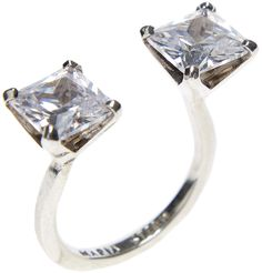 Maria Stern, Twin Zirconia Ring, white rhodium silver and cubic zirconia