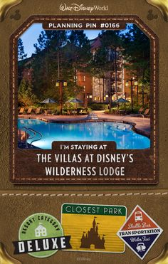 Walt Disney World Planning Pins: The Villas at Disney's Wilderness Lodge