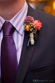 Wedding photography: love that boutonniere and purple tie