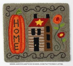 Home Punch Needle Pattern or Kit by Melanie Pinney and American Pie Designs