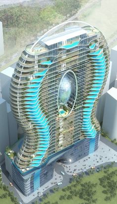 Zwembalkons in Mumbai, India. Each room has its own pool.
