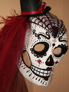 "Beautifully painted papier mache Day of the Dead Mask  ""Black Widow"""