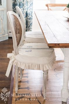 Dining chair slipcover tutorial - detailed steps