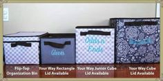 The different organization cubes & bins by Thirty-One Gifts.
